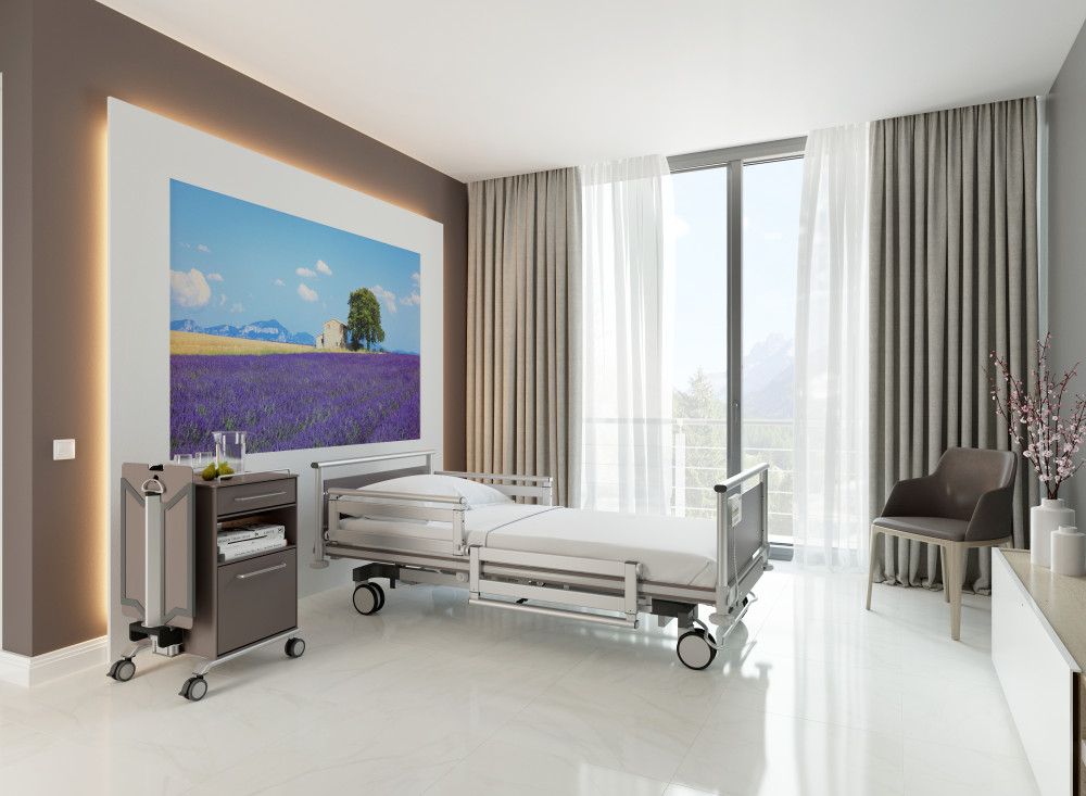 Hospital bed in private clinic
