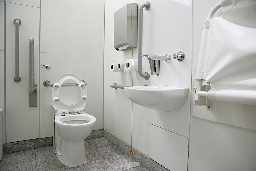 horizontal view of a toilet interior for disabled